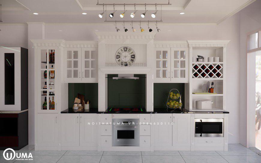 Tủ bếp gỗ Sồi Nga sơn trắng - UNT 21, Tủ bếp gỗ Sồi Nga sơn trắng, ,