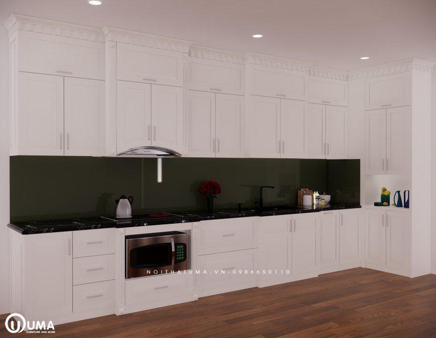 Tủ bếp gỗ Sồi Nga sơn trắng - UNT 23, Tủ bếp gỗ Sồi Nga sơn trắng, ,