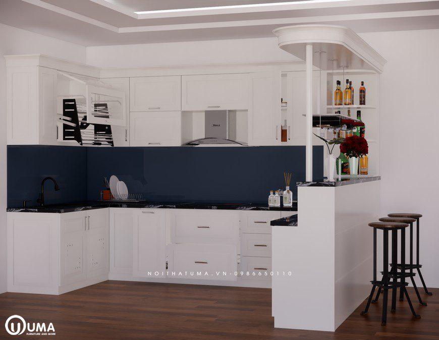 Tủ bếp gỗ Sồi Nga sơn trắng - UNT 24 - Nội Thất UMA