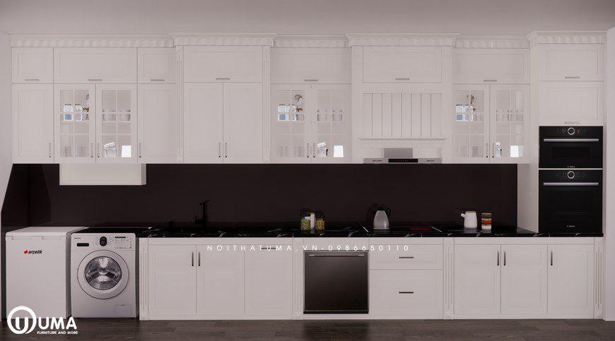 Tủ bếp gỗ Sồi Nga sơn trắng - UNT 25, Tủ bếp gỗ Sồi Nga sơn trắng, ,