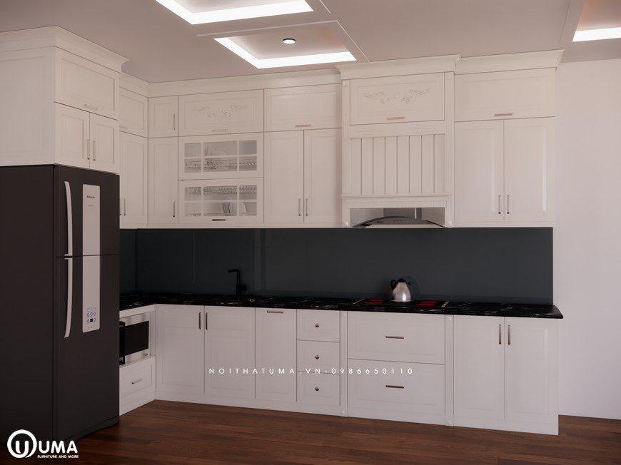Tủ bếp gỗ Sồi Nga sơn trắng - UNT 26, , ,