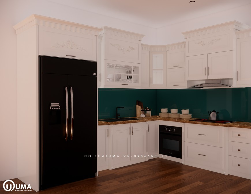 Tủ bếp gỗ Sồi Nga sơn trắng - UNT 27, Tủ bếp gỗ Sồi Nga sơn trắng, ,