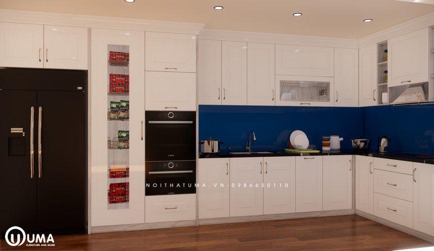Tủ bếp gỗ Sồi Nga sơn trắng - UNT 03, , ,