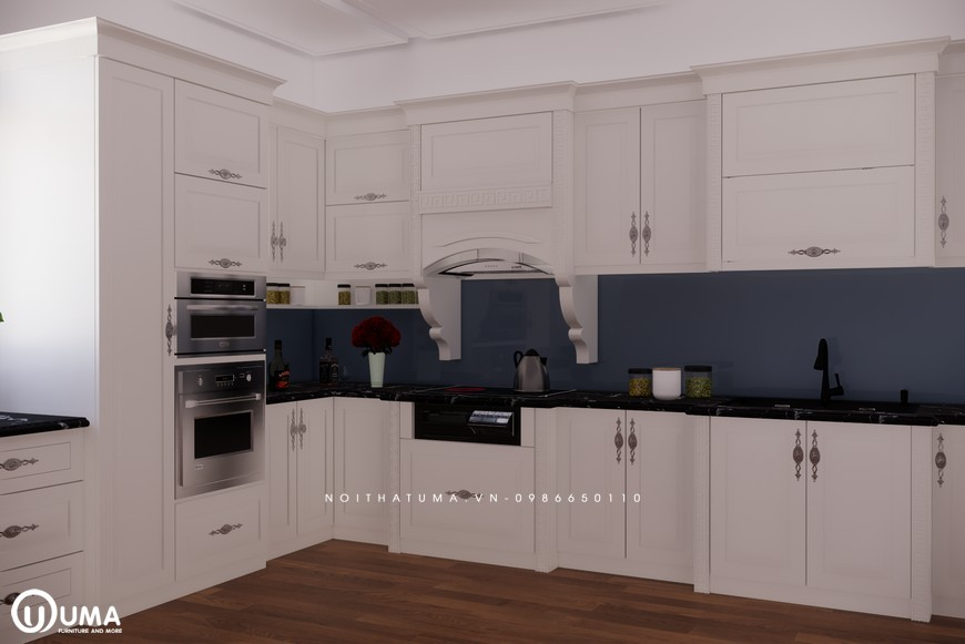 Tủ bếp gỗ Sồi Nga sơn trắng - UNT 28, Tủ bếp gỗ Sồi Nga sơn trắng, ,