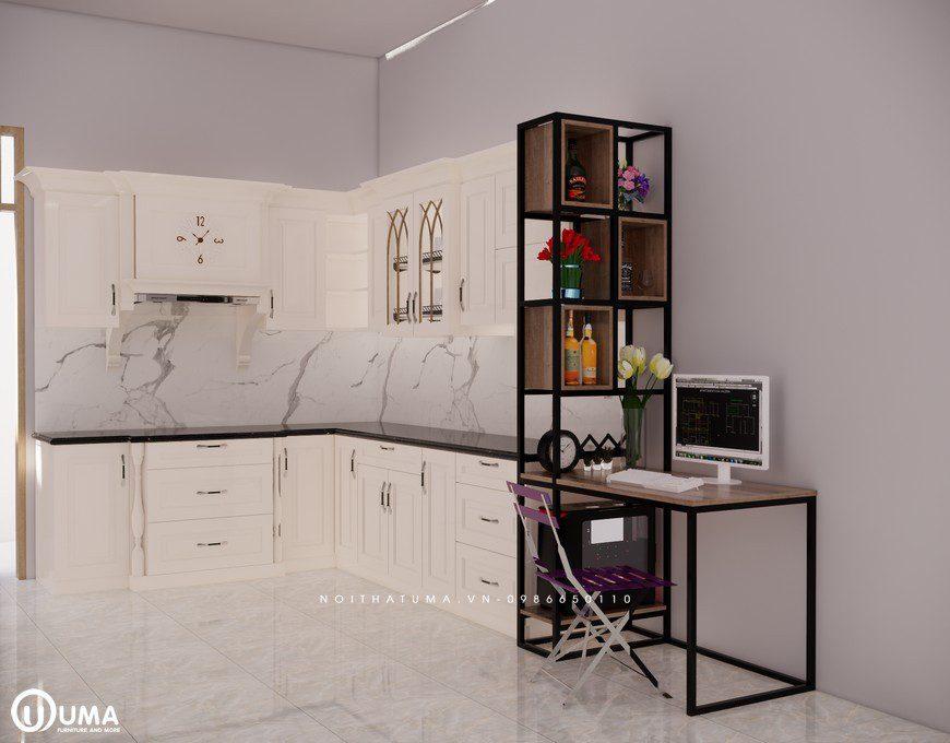 Tủ bếp gỗ Sồi Nga sơn trắng - UNT 05, , ,