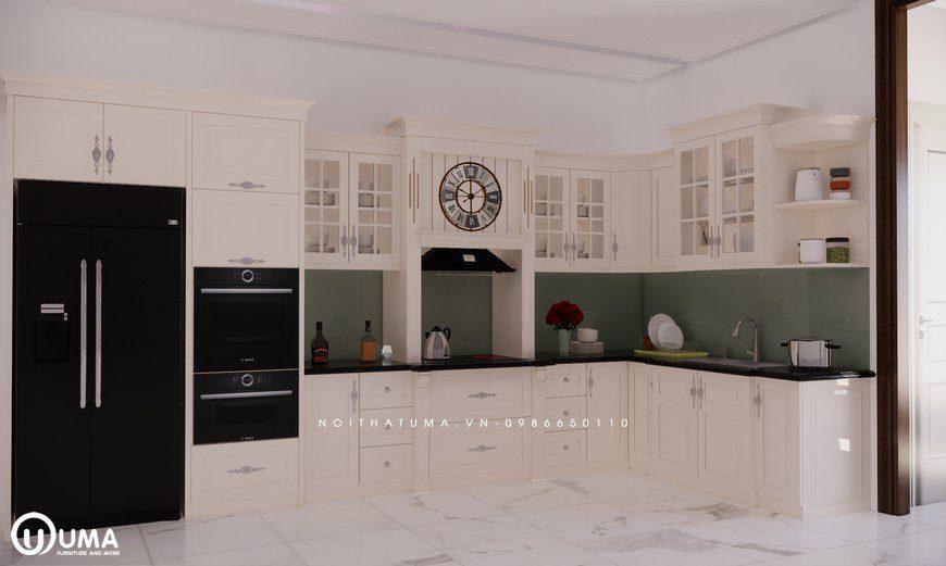 Tủ bếp gỗ Sồi Nga sơn trắng - UNT 06, , ,