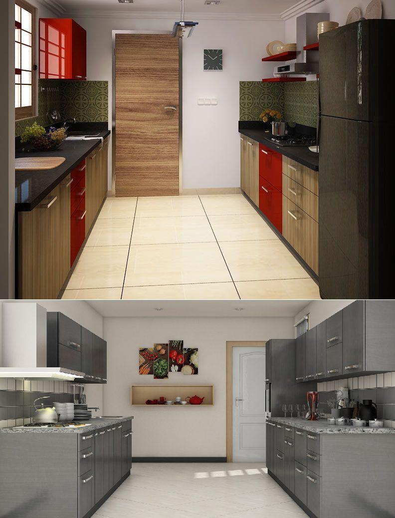 Mẫu tủ bếp song song