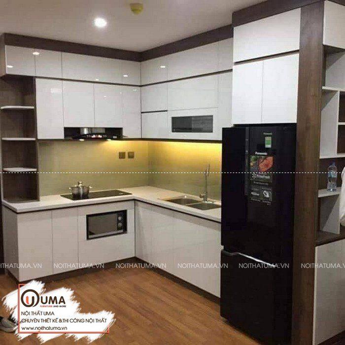 tủ bếp chữ L gỗ acrylic