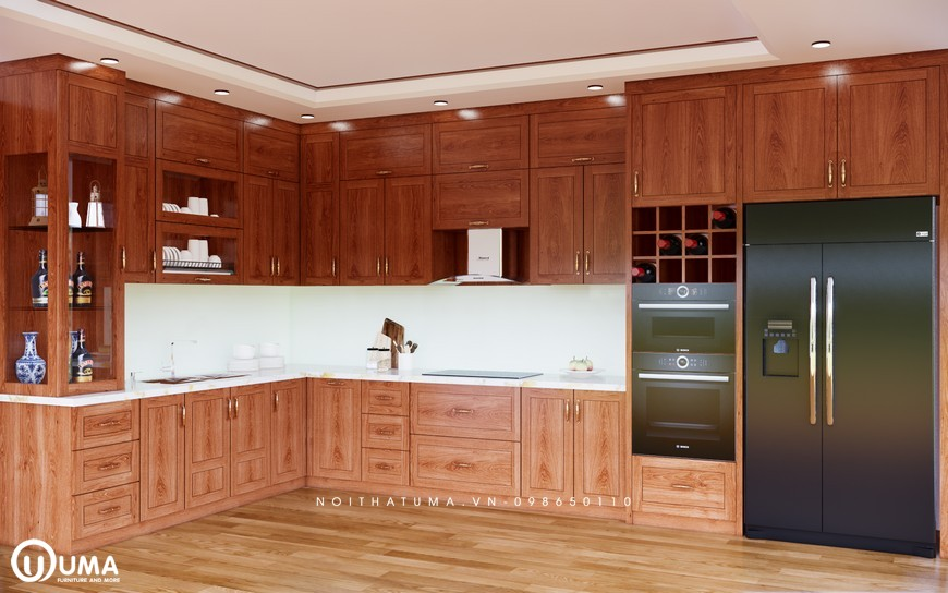 Mẫu tủ bếp chữ L gỗ tự nhiên