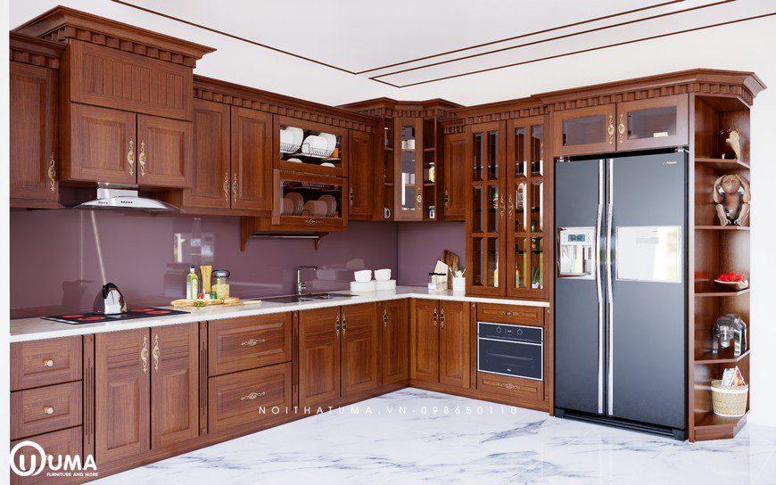 Tủ bếp gỗ xoan đào chữ L