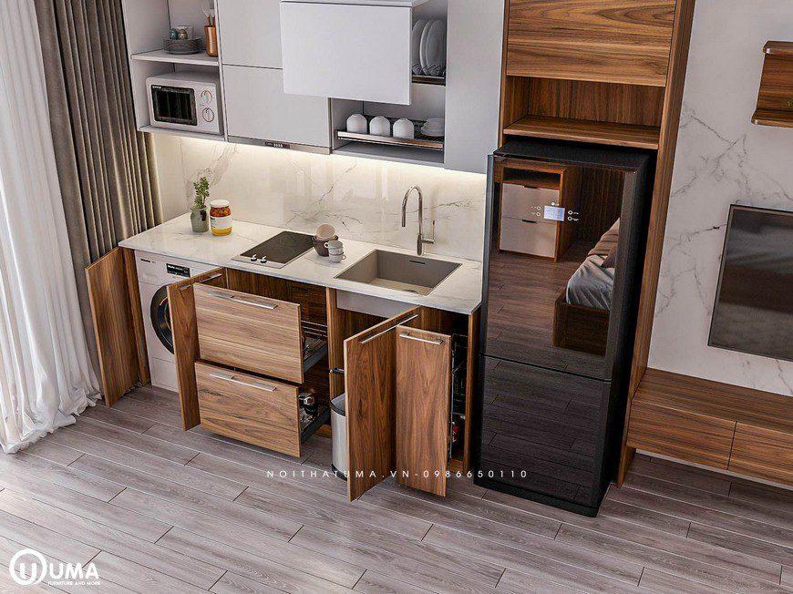 Tủ bếp Acrylic – UAC 30 có thiết kế tối giản theo phong cách hiện đại dáng thẳng hình chữ I