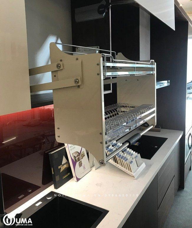 Phụ kiện tủ bếp: Giá bát nâng hạ