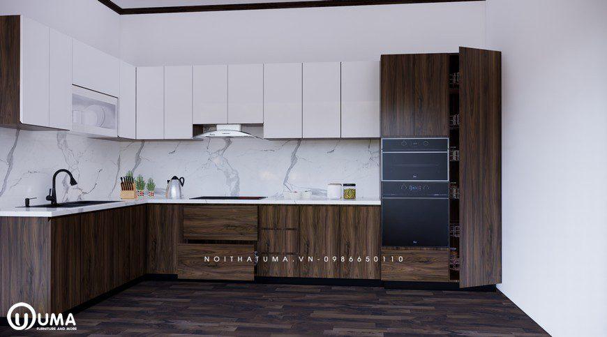 Mẫu tủ bếp Acrylic thịnh hành số một cho phòng bếp chung cư