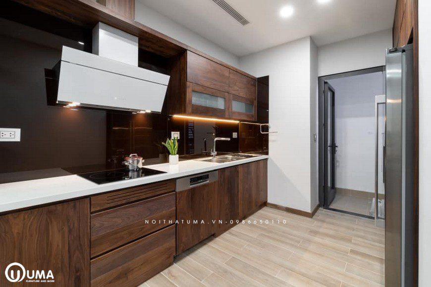 Tủ bếp Melamine – UML 12 kiểu dáng chữ I theo phong cách hiện đại