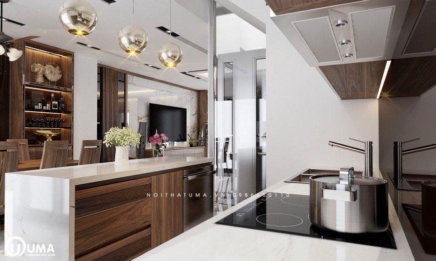 Tủ bếp Melamine song song kết hợp với đèn treo và đá được ốp màu trắng