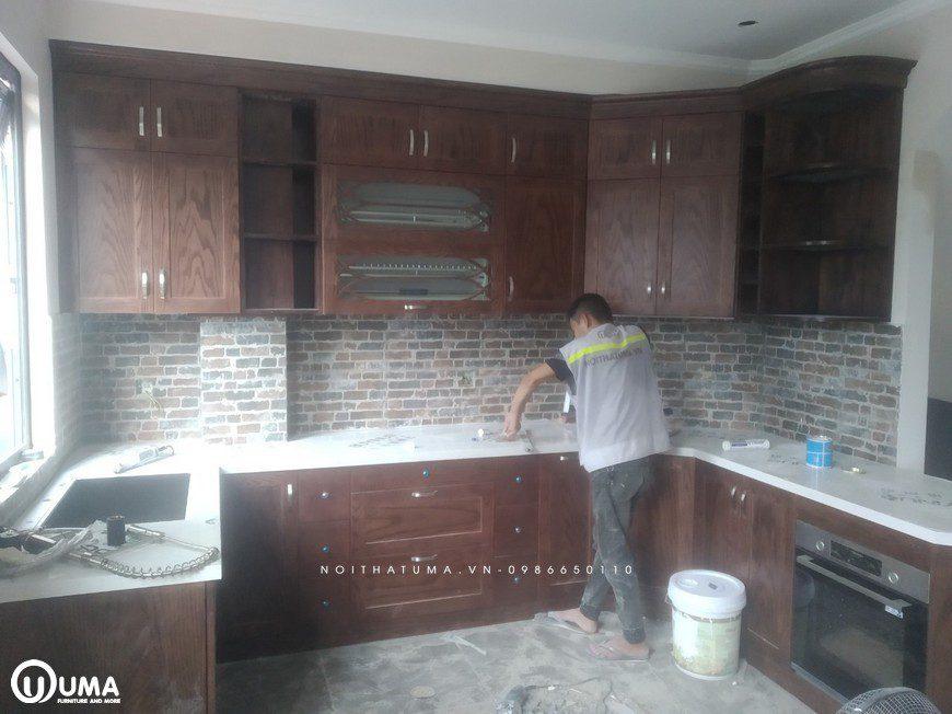 Thi công tủ bếp gỗ Sồi Mỹ tại nhà anh Cường - Bát Tràng, tủ bếp gỗ Sồi Mỹ, , Thi công nội thất