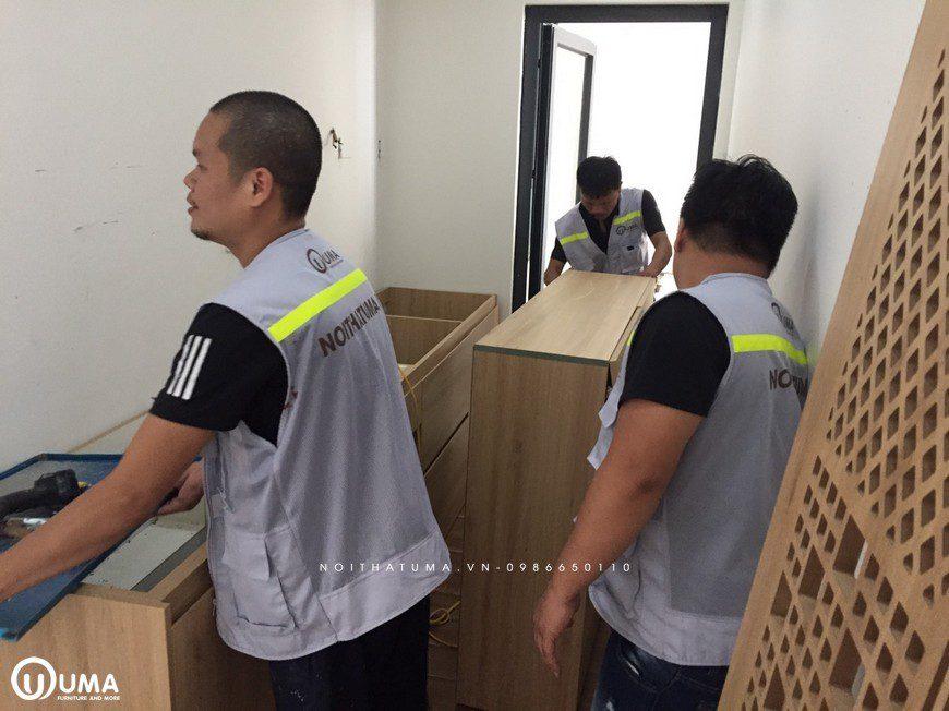 Thi công Tủ bếp, Phòng ngủ acrylic nhà chị Thu - An Bình city - Nội Thất UMA