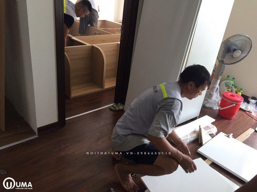 Thi công tủ bếp acrylic nhà chị Thu - An Bình city