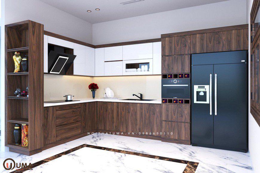 Mẫu tủ bếp uma chữ L thịnh hành kết hợp nhiều chất liệu tối ưu cho không gian và độ bền