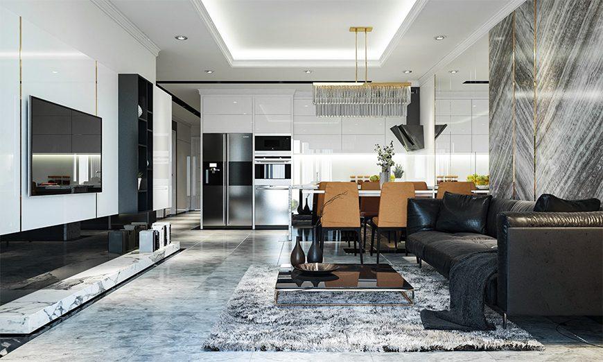 Mẫu 1 - Hướng cửa thiết kế nội thất chung cư