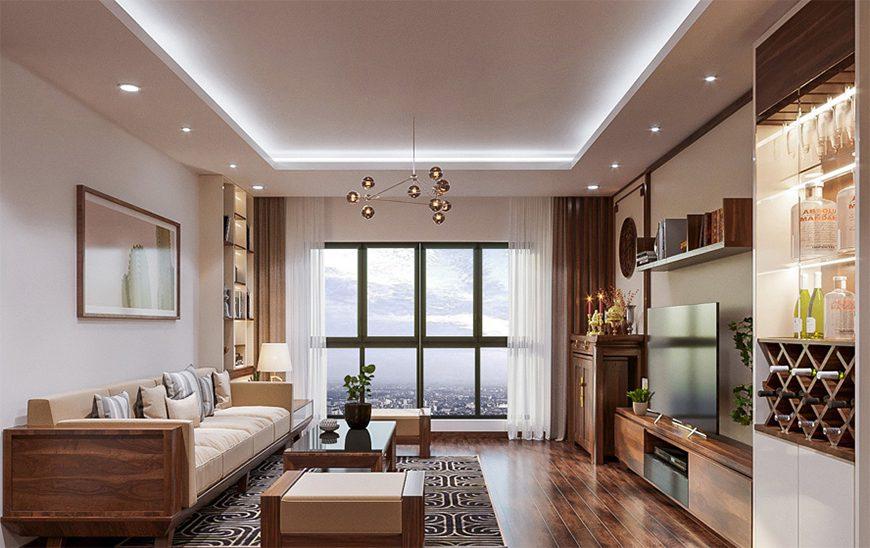 Mẫu 3 – Thiết kế nội thất phòng khách hợp phong thủy người sinh năm 1960