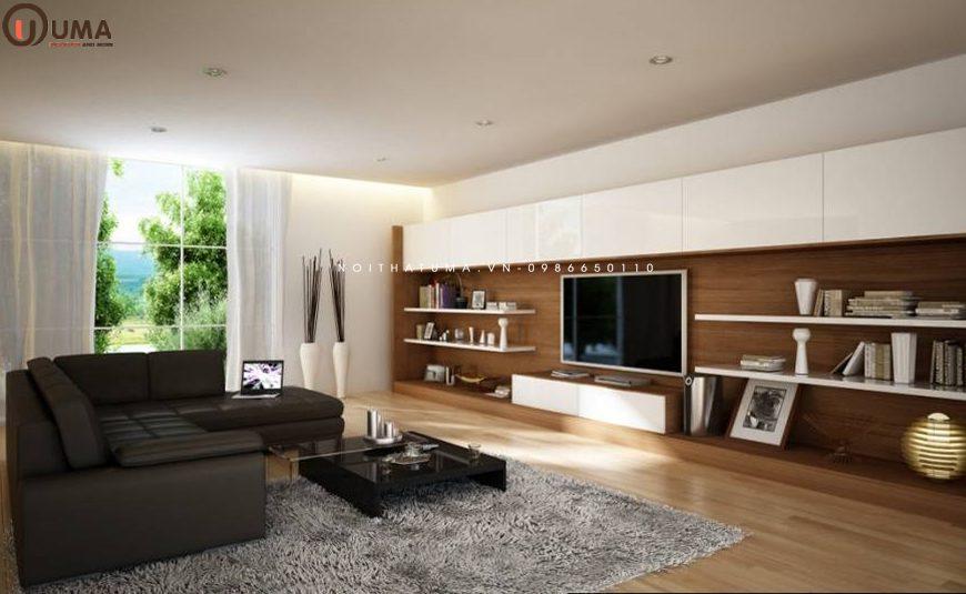 Mẫu 2 - Thiết kế nội thất phòng khách cho gia chủ tuổi 1962