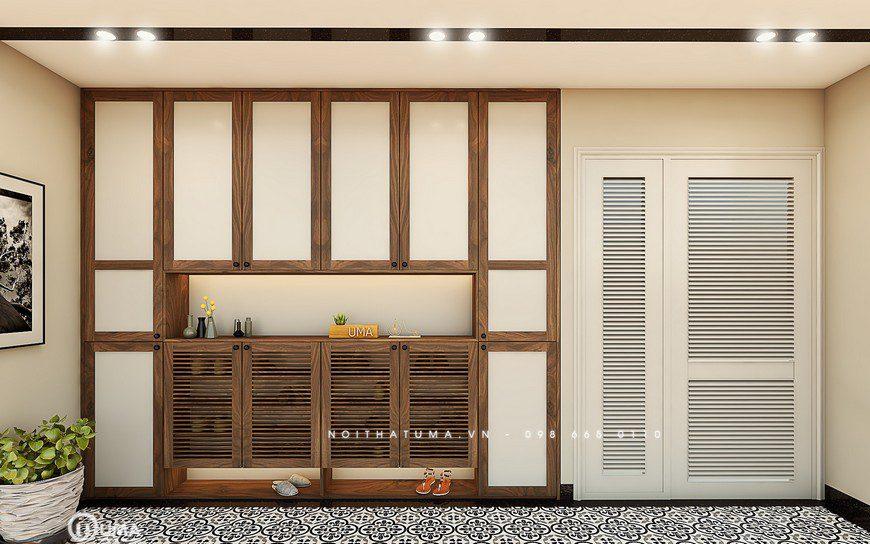 Mẫu tủ bếp đẹp với tủ kho tiện lợi đa dụng