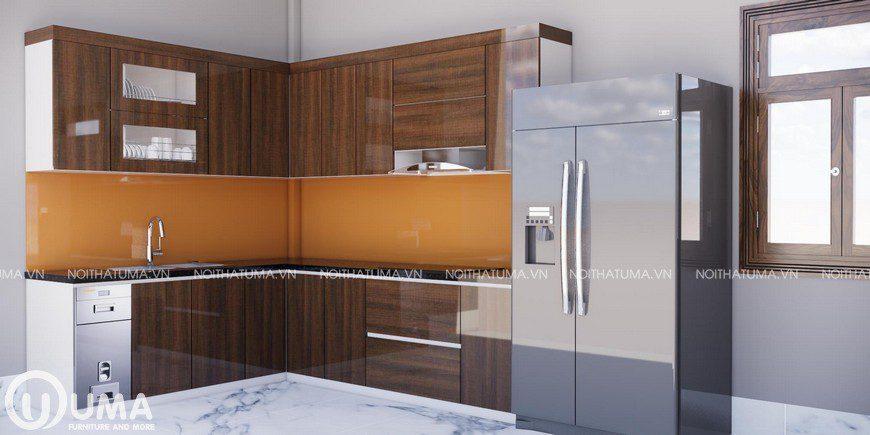 Mẫu tủ bếp hình chữ L gỗ acrylic hoàn hảo cho không gian bếp