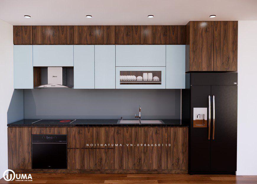 Mẫu tủ bếp Acrylic chữ I vân gỗ của UMA thiết kế cho chung cư