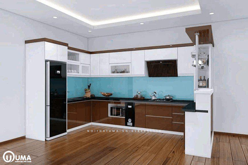 thiết kế nhà bếp và phòng khách chung cư
