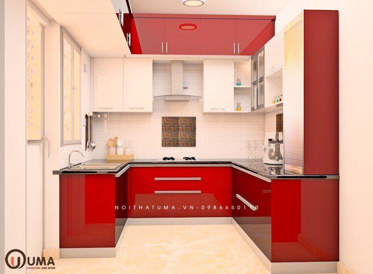Tủ bếp Laminate chữ U UMA