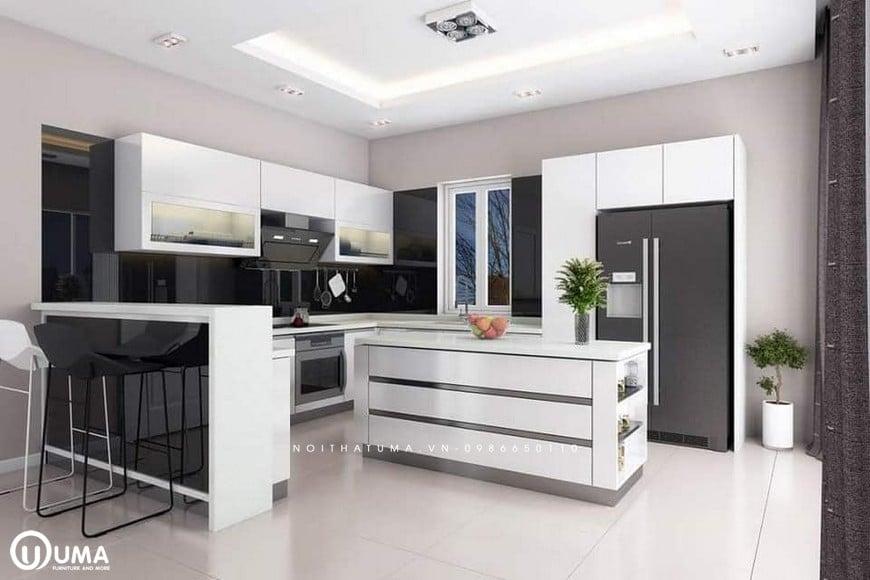 Mẫu tủ bếp kết hợp LAMINATE và ACRYLIC