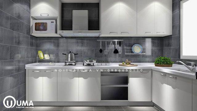 Tối giản với màu trắng đen cho tủ bếp.