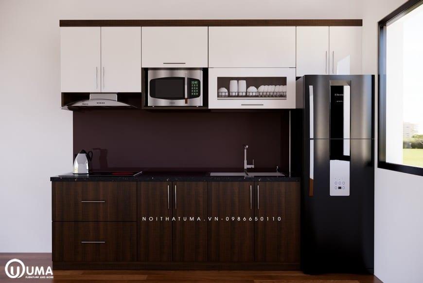 Chất liệu làm tủ bếp Melamine - UML 02 là gỗ công nghiệp cao cấp của An Cường
