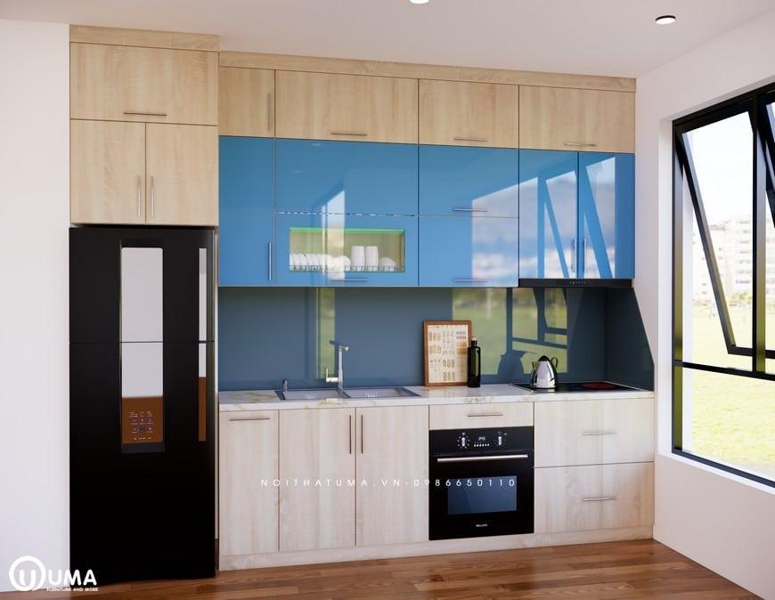 Được yêu thích bởi phong cách riêng biệt với thiết kế trẻ trung của tủ bếp Melamine - iUML 03, đây là mẫu tủ bếp chữ I.