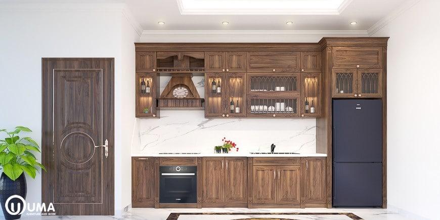 Phong cách thiết kế độc đáo của tủ bếp Melamine - UML 06 có chất liệu được sử dụng để làm nên sản phẩm là gỗ công nghiệp cao cấp