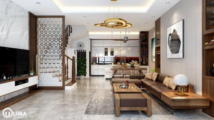 Không gian bếp sang trọng, bắt mắt với mẫu gạch ốp tường bếp đẹp