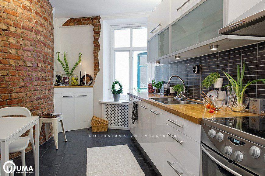 Sở hữu không gian bếp lý tưởng tuy cổ điển nhưng hiện đại của gạch ốp tường bếp vân sọc kích thước nhỏ nhắn, xinh xắn