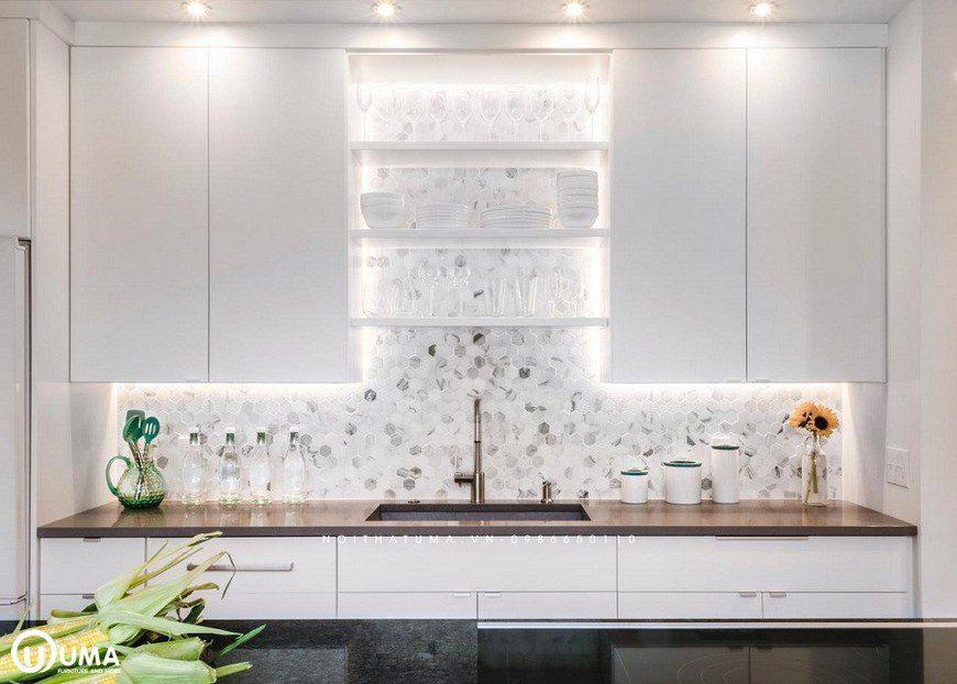 Lấy cảm hứng từ lấp lánh với bề mặt in nổi 3D giúp mẫu gạch ốp bếp tạo hiệu ứng bắt mắt với người dùng