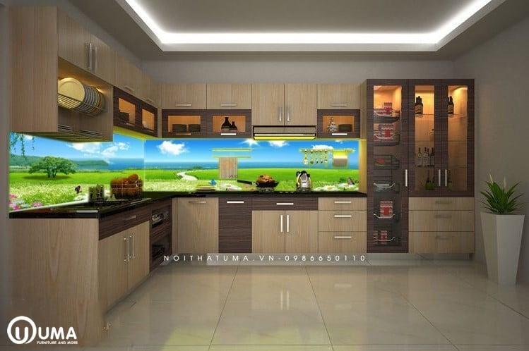 Mẫu gạch ốp tường bếp 3D