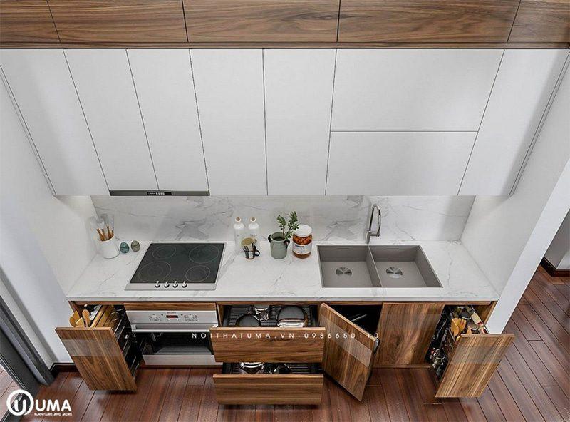 Mẫu tủ bếp được thiết kế khá sang trọng và đầy đủ tiện nghi