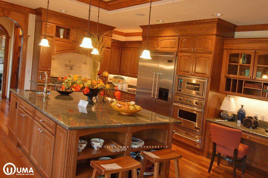 Tủ bếp gỗ gõ đỏ quầy bar UMA
