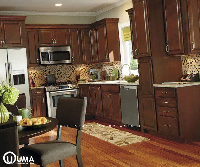 Tủ bếp gỗ dõ đỏ có bàn đảo UMA
