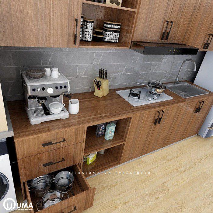 Tủ bếp gỗ óc chó chữ I