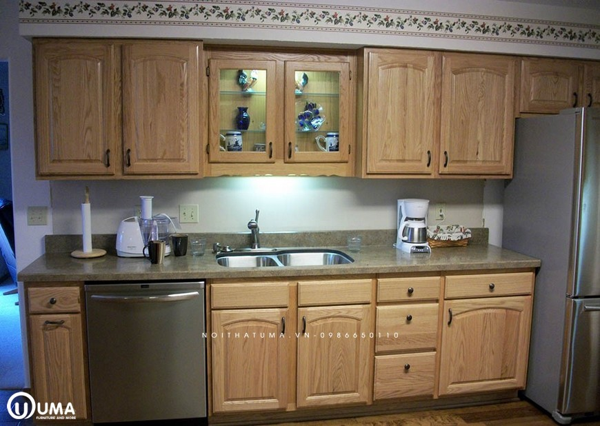 Tủ bếp gỗ Sồi Mỹ chữ I UMA