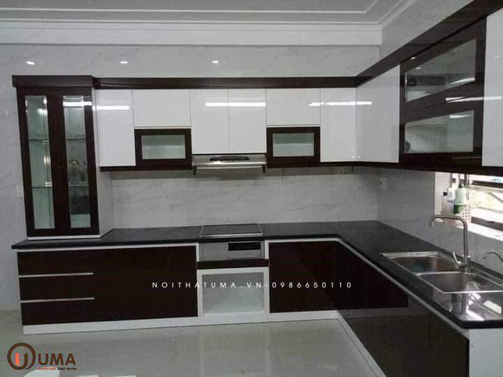 tủ bếp melamin chữ L UMA