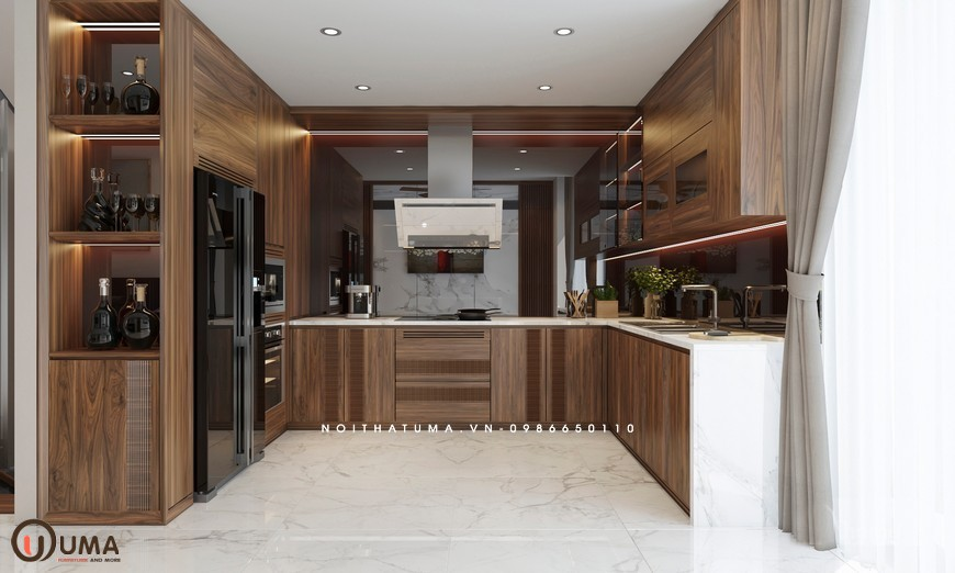 Tủ bếp Melamin chữ U UMA