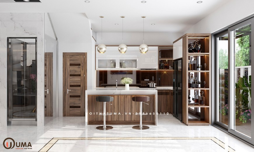 Tủ bếp Melamin song song UMA