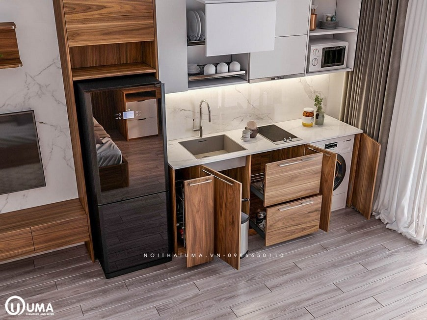 Tủ bếp Melamine - UML 13 có kiểu dáng hình chữ I hiện đại