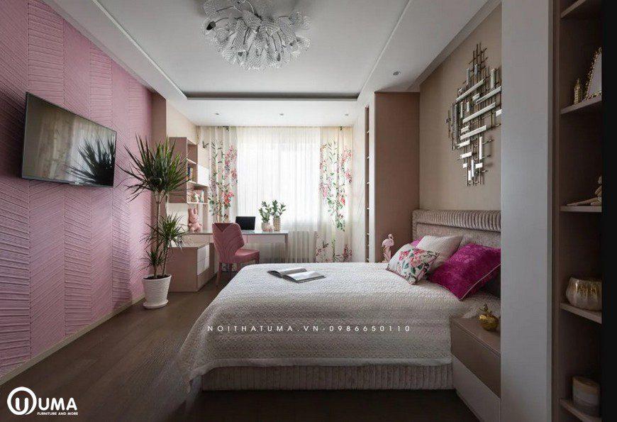 Phòng ngủ của bé gái với tông màu hồng làm màu chủ đạo, thể hiện sự nhẹ nhàng, cá tính riêng của con nhỏ.